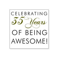 """35 Years Pint Glass Square Sticker 3"""" x 3"""""""