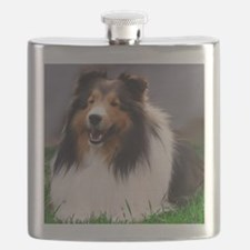 sheltie art canvas Flask