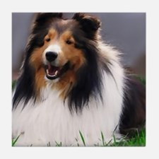sheltie art canvas Tile Coaster