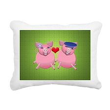 Boy and girl piggies Rectangular Canvas Pillow