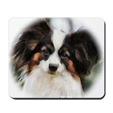 papillon watercolor round Mousepad