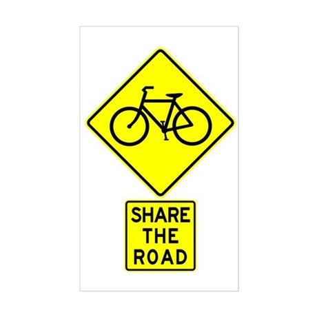 Bike Sign Share the Road Rectangle Sticker