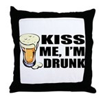 Kiss Me, I'm Drunk (Beer) Throw Pillow