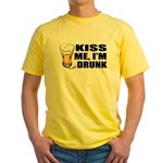 Kiss Me, I'm Drunk (Beer) Yellow T-Shirt