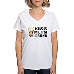 Kiss Me, I'm Drunk (Beer) Women's V-Neck T-Shirt