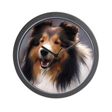 sheltie art canvas square Wall Clock