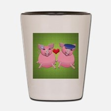 Boy and girl piggies Shot Glass