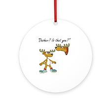 Santa Reindeer Round Ornament