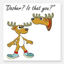 "Santa Reindeer Square Car Magnet 3"" x 3"""