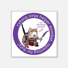 "cyborg_ninja_wombat_logo3 Square Sticker 3"" x 3"""