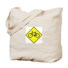 Bike Sign Share the Road Tote Bag