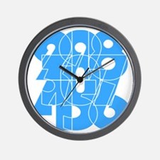 sky-bluelbl-wt Wall Clock