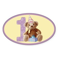 Teddy Bear 1 Oval Stickers