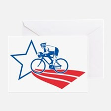 Cyclist riding racing bike American  Greeting Card