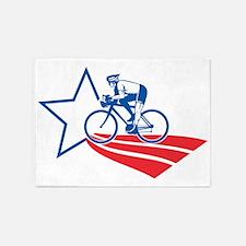 Cyclist riding racing bike American 5'x7'Area Rug