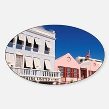 Hamilton, Bermuda: Colorful buildin Sticker (Oval)