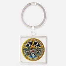 Yule Pentacle Square Keychain