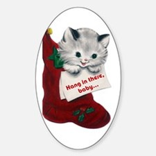 FIN-hang-in-there-XMASCARDS-FRONT Sticker (Oval)
