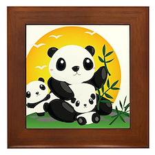 Panda Family Framed Tile