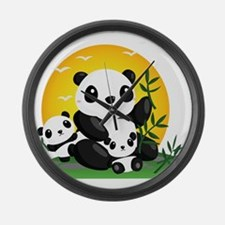 Panda Family Large Wall Clock