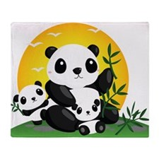Panda Family Throw Blanket