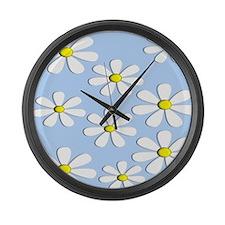 daisies blue 2 Large Wall Clock