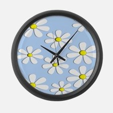 daisies blue 2 Large Wall Clock