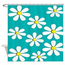 daisies aqua 2 Shower Curtain