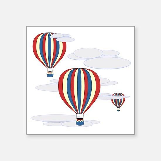 """Hot Air Balloon Sq Lt Square Sticker 3"""" x 3"""""""