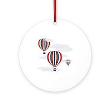 Hot Air Balloon Sq Lt Round Ornament