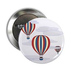 """Hot Air Balloon Sq Lt 2.25"""" Button"""