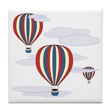 Hot Air Balloon Sq Lt Tile Coaster