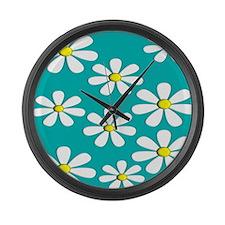 daisies aqua 2 Large Wall Clock