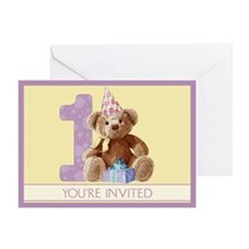Teddy Bear 1 Birthday Invitations (6)