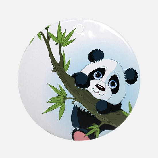 Panda on Tree Ornament (Round)