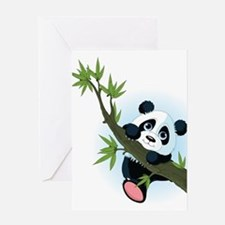 Panda on Tree Greeting Cards