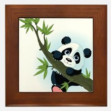 Panda on Tree Framed Tile