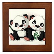 Two Pandas Framed Tile