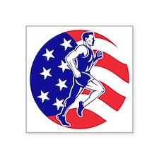 """American Marathon runner st Square Sticker 3"""" x 3"""""""
