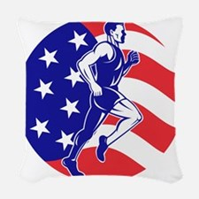 American Marathon runner stars Woven Throw Pillow