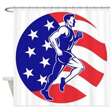 American Marathon runner stars stri Shower Curtain