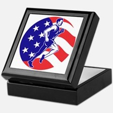 American Marathon runner stars stripe Keepsake Box