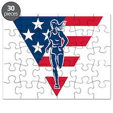 female amercian marathon runner flag Puzzle