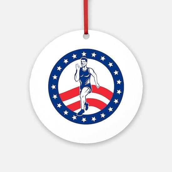 American Marathon runner Round Ornament