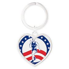 American Marathon runner Heart Keychain