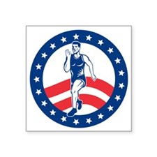 "American Marathon runner Square Sticker 3"" x 3"""
