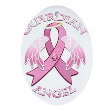 PinkGAngelDkTr Oval Ornament