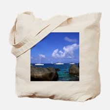 Boulder rocks and boats in the choppy wat Tote Bag
