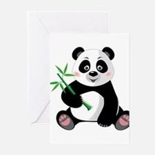 Panda with Bamboo-3 Greeting Cards