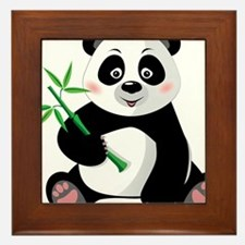 Panda with Bamboo-3 Framed Tile